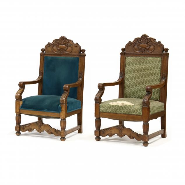 pair-of-antique-continental-carved-oak-armchairs
