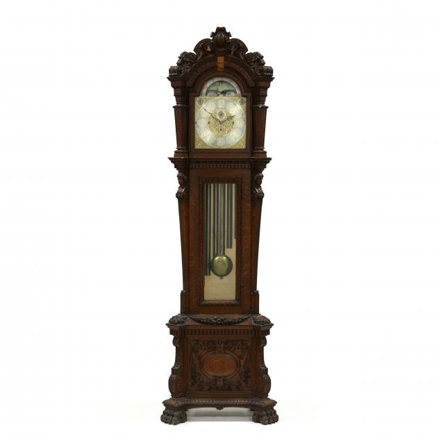 walter-h-durfee-renaissance-revival-carved-oak-tall-case-tube-clock