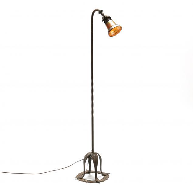 vintage-bronze-floor-lamp-with-steuben-shade