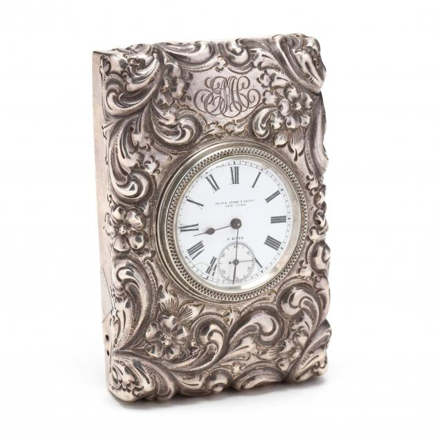 black-starr-frost-sterling-silver-paperweight-desk-clock