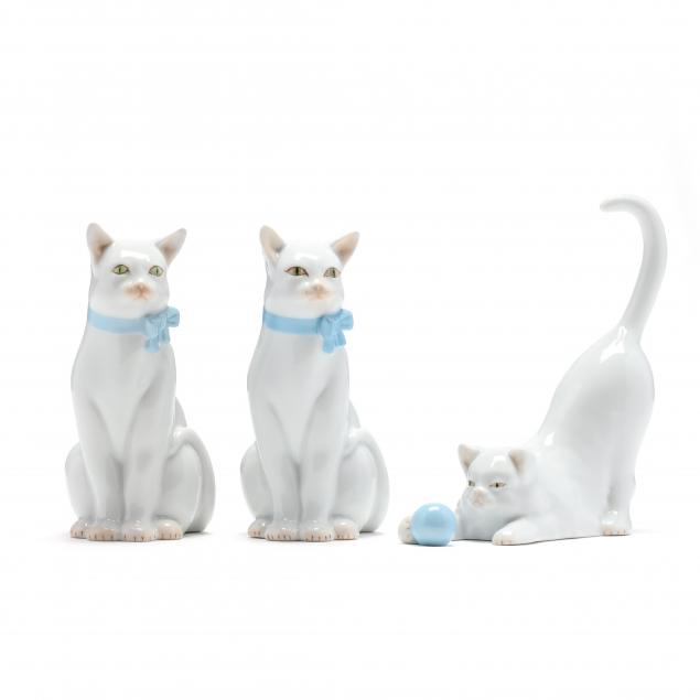three-herend-porcelain-natural-cats