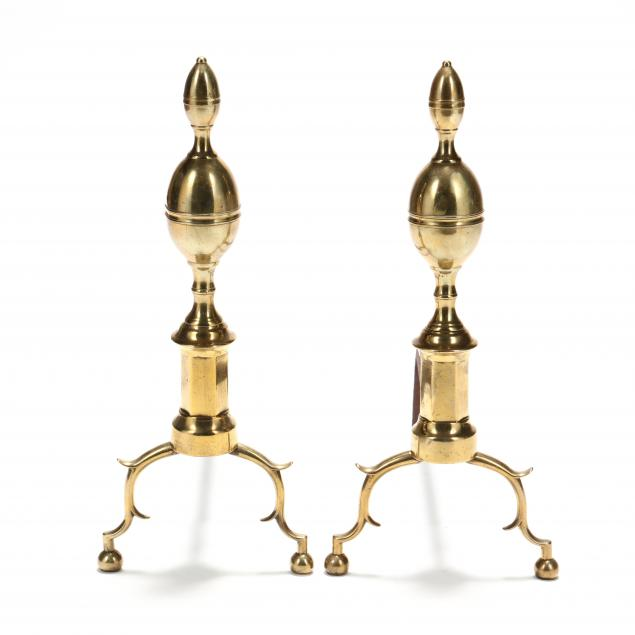 pair-of-chippendale-lemon-top-brass-andirons