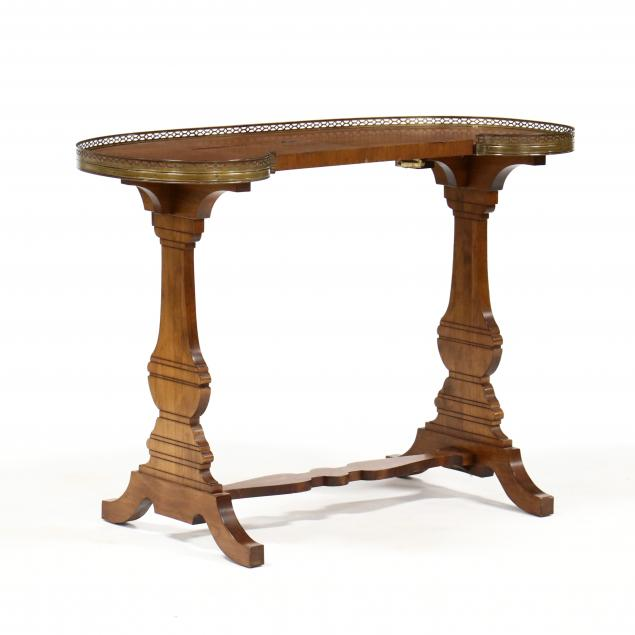 neoclassical-style-walnut-kidney-shaped-writing-table