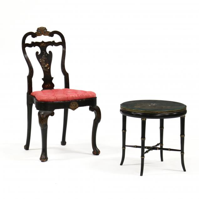 antique-english-chinoiserie-side-chair-and-low-table