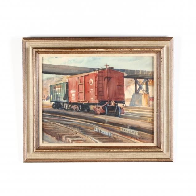henry-jay-lee-ny-fl-1896-1968-train-cars-on-the-tracks