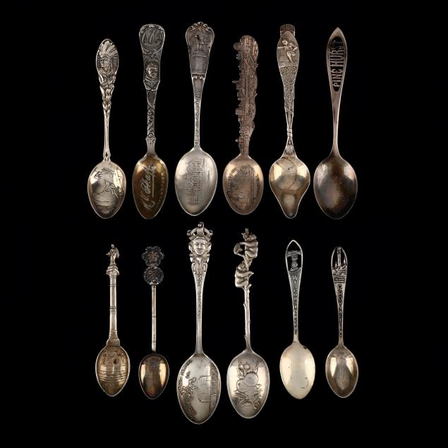 Twelve Sterling Silver Souvenir Spoons (Lot 5229 - Upcoming: Arts of the SouthDec 19, 2019, 2:00pm)