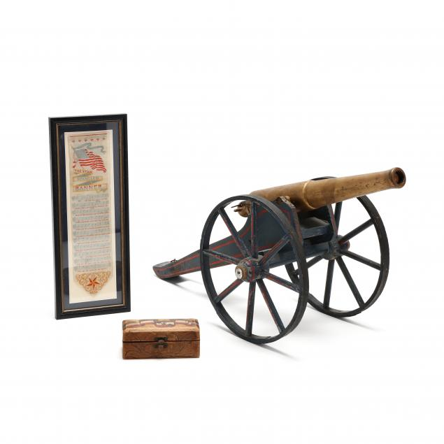 two-vintage-patriotic-items-with-a-related-toy-cannon