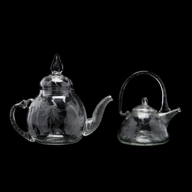 two-etched-art-glass-teapots