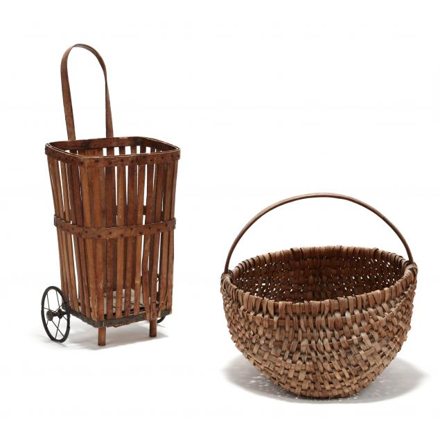 large-antique-buttocks-basket-and-market-cart