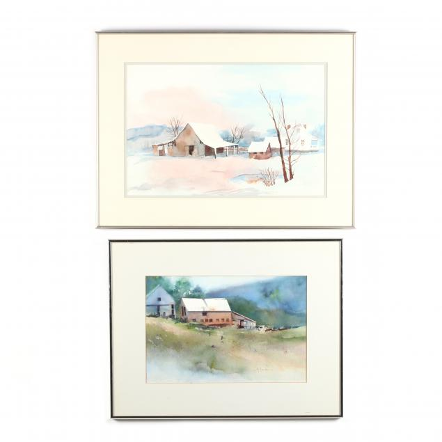 two-contemporary-farm-landscape-watercolors-by-nc-artists