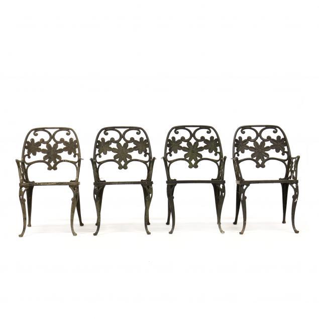 four-vintage-aluminum-garden-armchairs