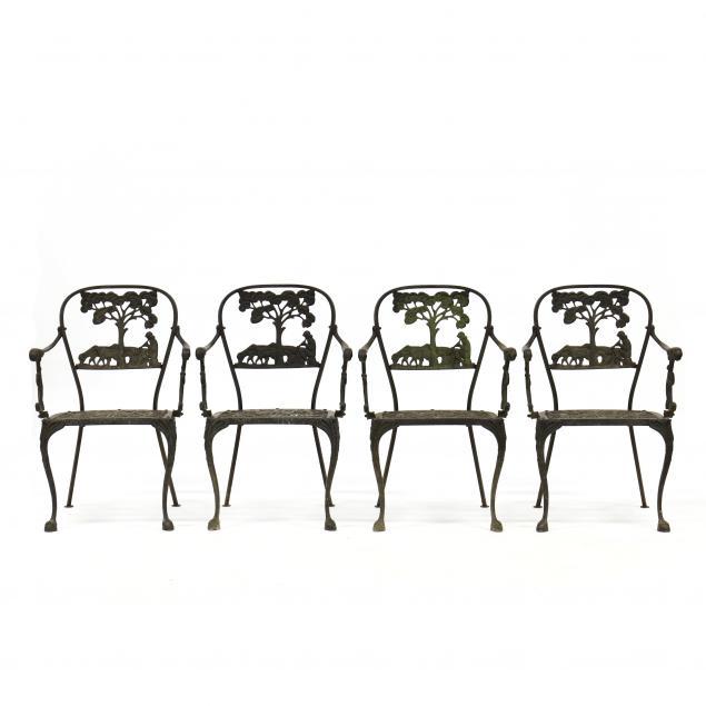 set-of-four-aluminum-pastoral-motif-garden-armchairs