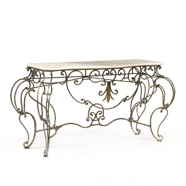 spanish-style-iron-and-marble-console-table
