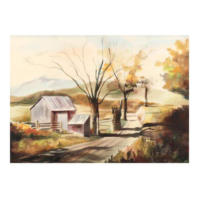 framed-watercolor-of-a-country-road