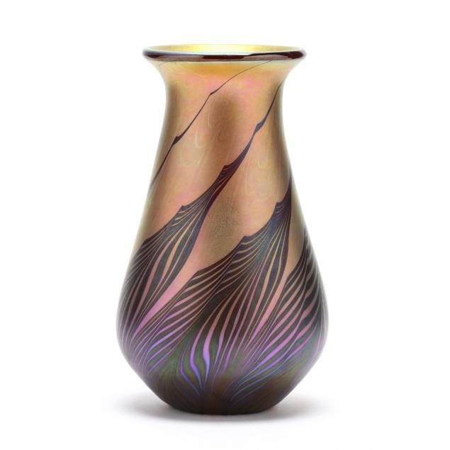 lundberg-red-moire-gourd-glass-vase