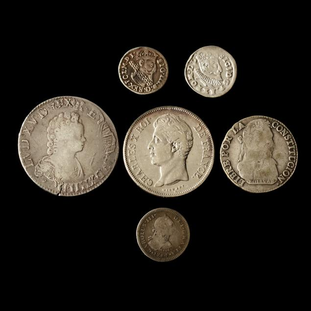 six-historic-silver-coins-16th-19th-century