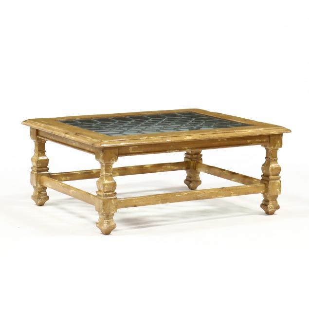 contemporary-distressed-pine-and-leaded-glass-coffee-table