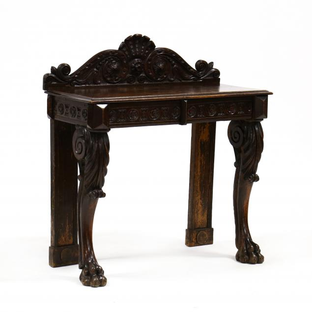 antique-english-renaissance-revival-oak-console-table