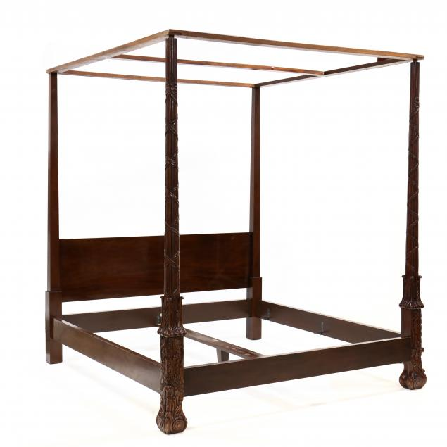 baker-king-size-carved-mahogany-tall-post-bed-with-tester