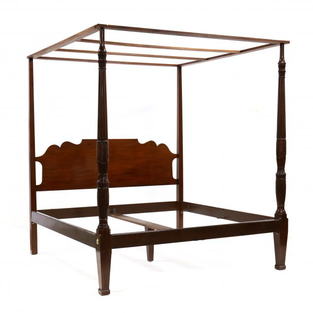 baker-king-size-federal-style-mahogany-rice-carved-bed-with-tester