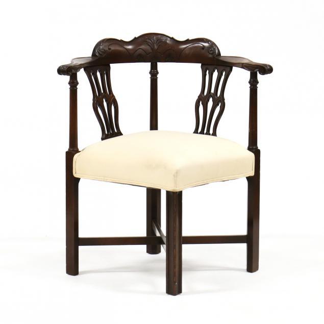 chippendale-style-carved-mahogany-corner-chair