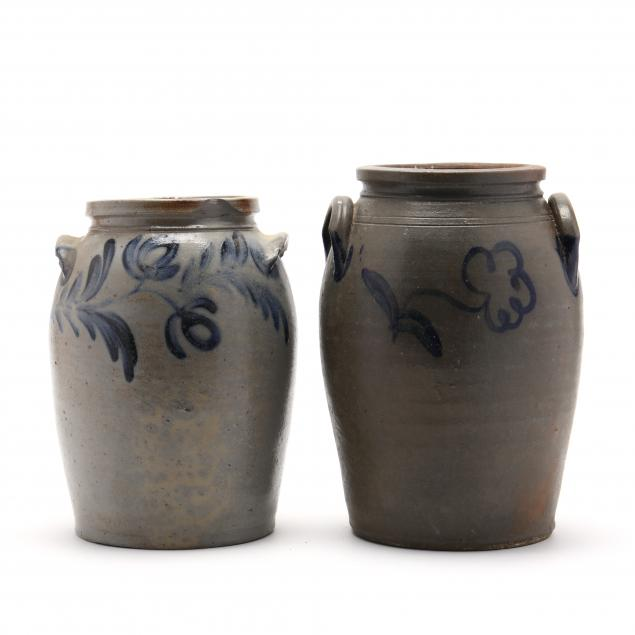 two-antique-pottery-stoneware-jars