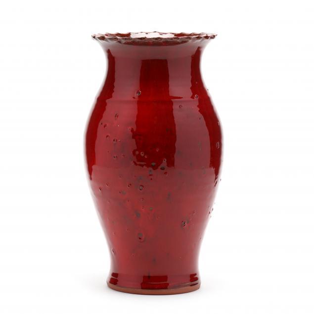 owens-pottery-nc-red-glazed-pottery-vase