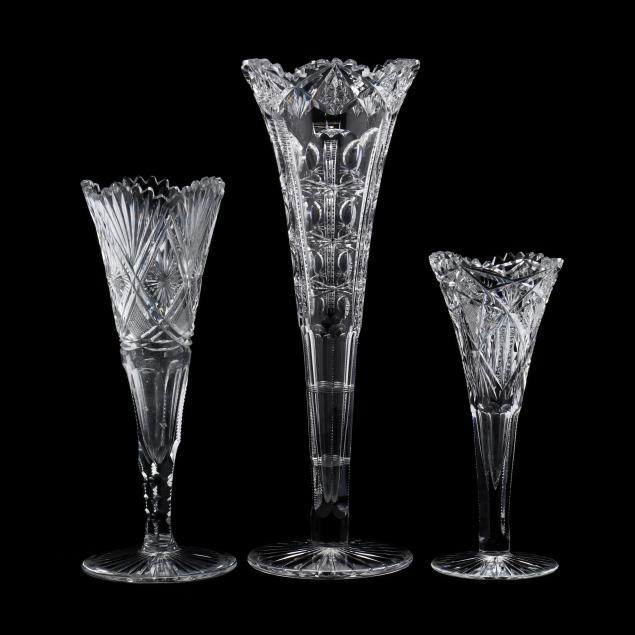 three-american-brilliant-period-cut-glass-trumpet-vases