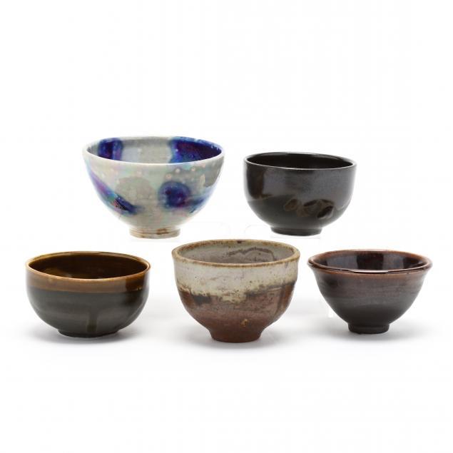 toshiko-takaezu-new-jersey-1922-2011-five-small-pottery-bowls
