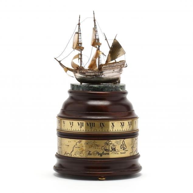 boehm-mayflower-silver-ship-rotary-clock