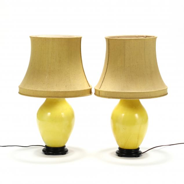 pair-of-vintage-yellow-glazed-pottery-lamps