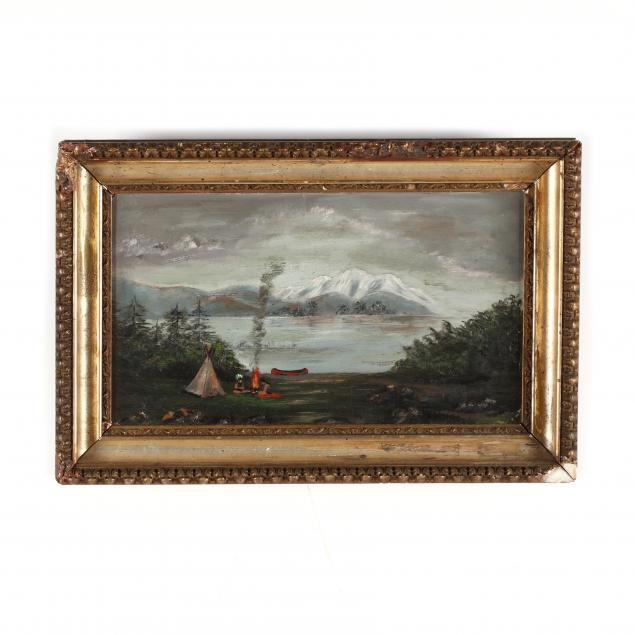 antique-landscape-painting-with-american-indian-encampment