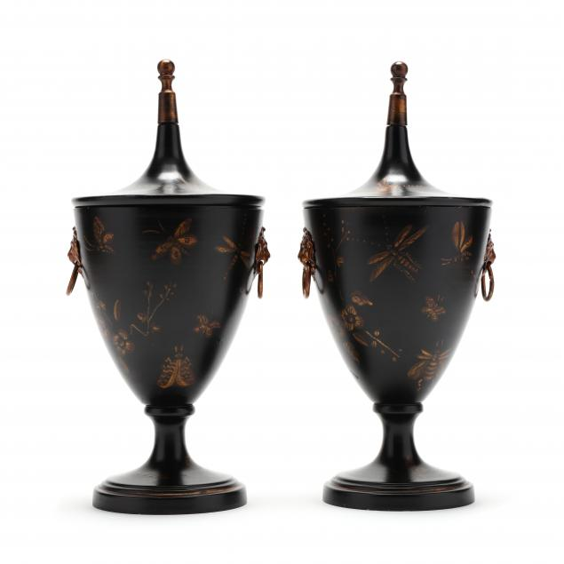 pair-of-contemporary-toleware-mantel-urns