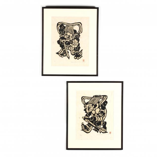 yoshitoshi-mori-japanese-1898-1992-two-samurai-woodblock-prints