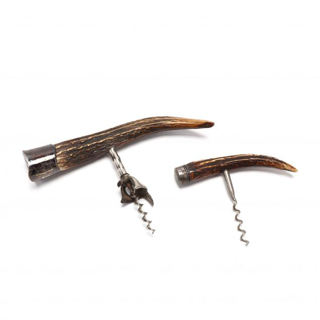 two-antique-antler-and-sterling-silver-cork-screws