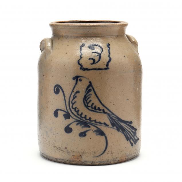 stoneware-3-gallon-crock-with-cobalt-bird-decoration