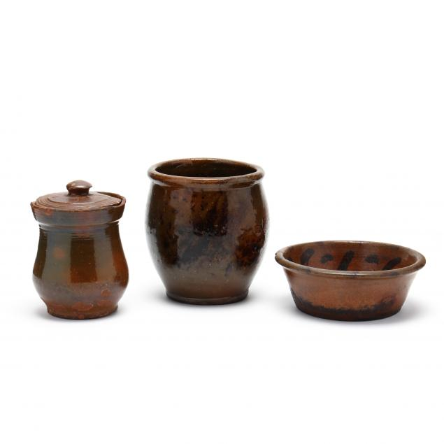 three-american-redware-pottery-vessels-19th-century