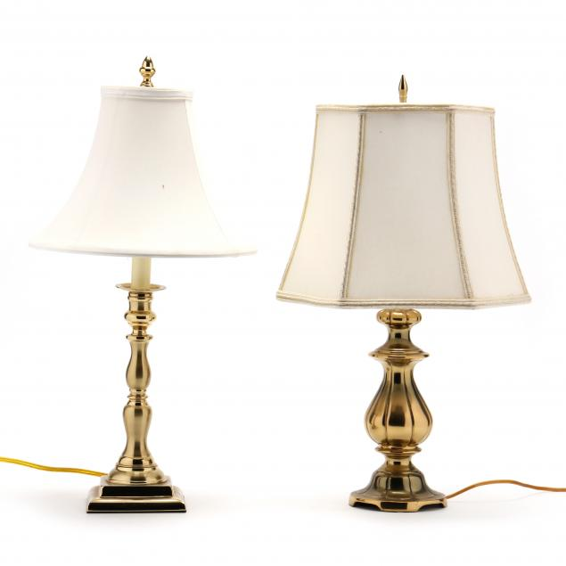 two-vintage-brass-table-lamps