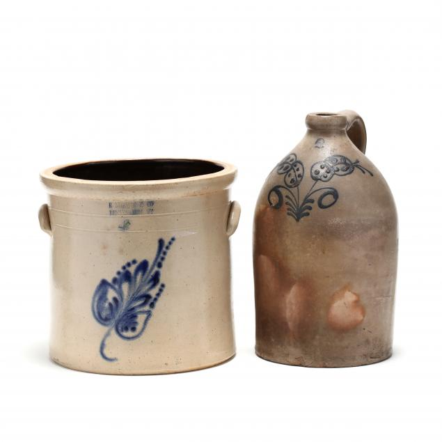 two-cobalt-decorated-stoneware-vessels