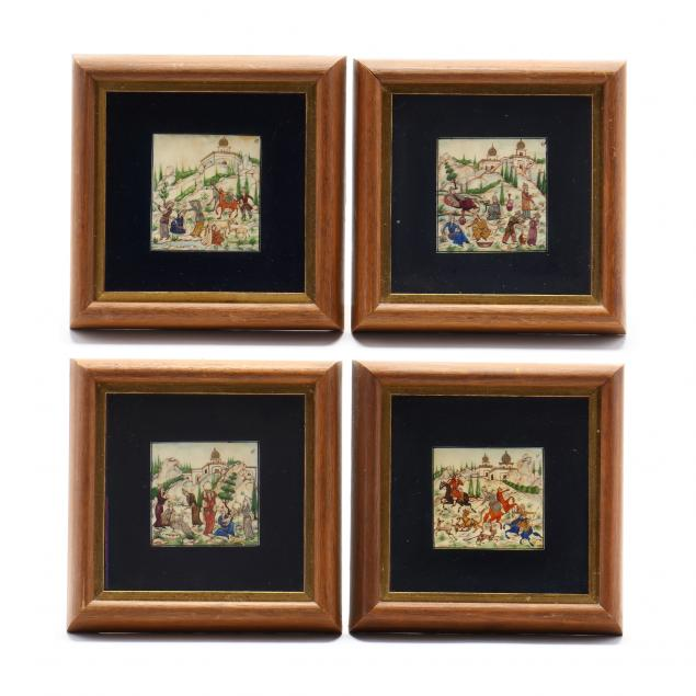 four-miniature-persian-paintings