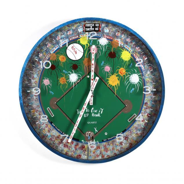 nc-folk-art-benny-carter-baseball-theme-clock-time-to-give-it-up-hank