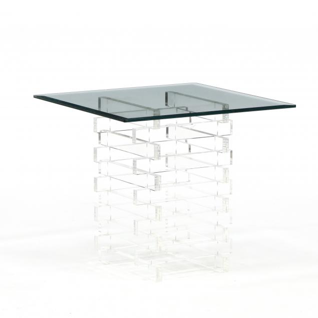 lucite-and-glass-side-table