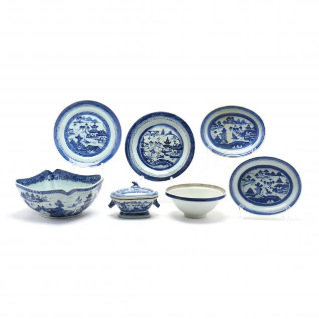 seven-pieces-of-chinese-export-blue-canton