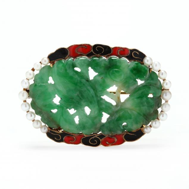 art-deco-14kt-gold-jadeite-enamel-and-pearl-brooch-cartier