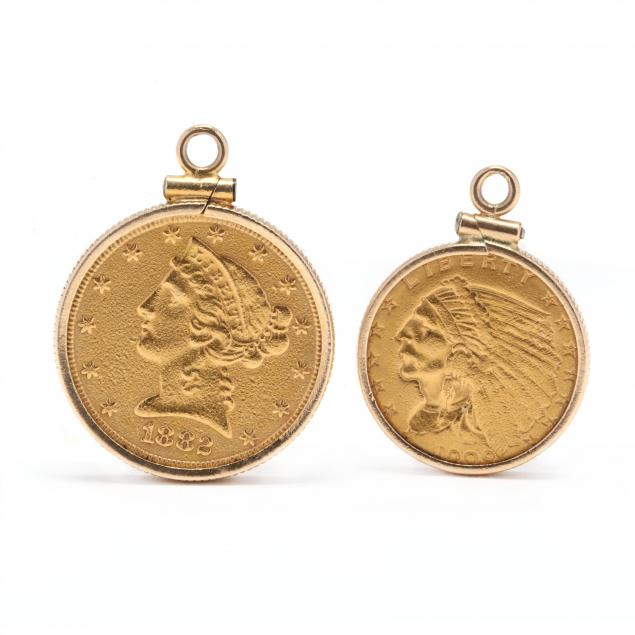 two-gold-coin-pendants