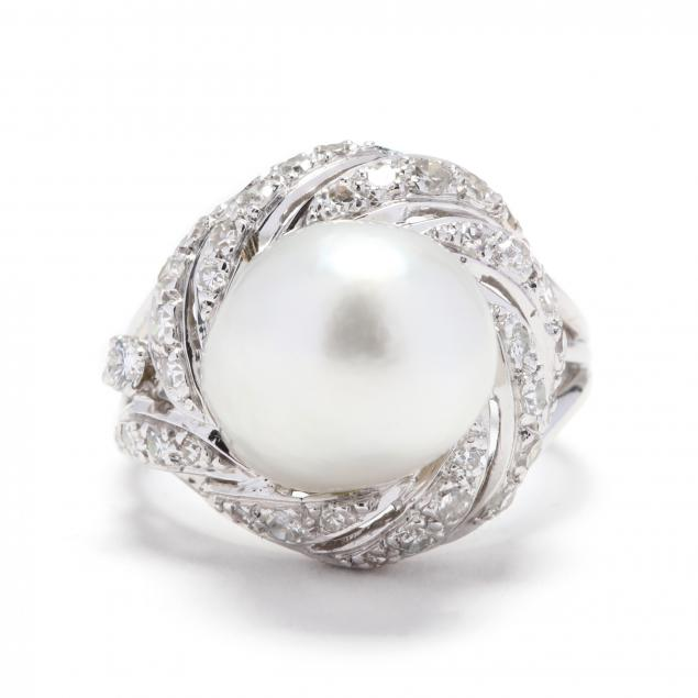 white-gold-natural-pearl-and-diamond-ring
