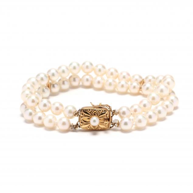 18kt-gold-double-strand-pearl-bracelet-mikimoto