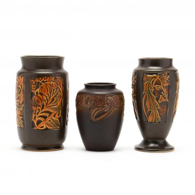 three-early-roseville-arts-and-crafts-pottery-vases
