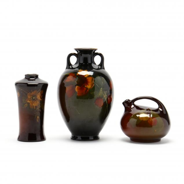 three-early-roseville-rozane-pottery-vessels
