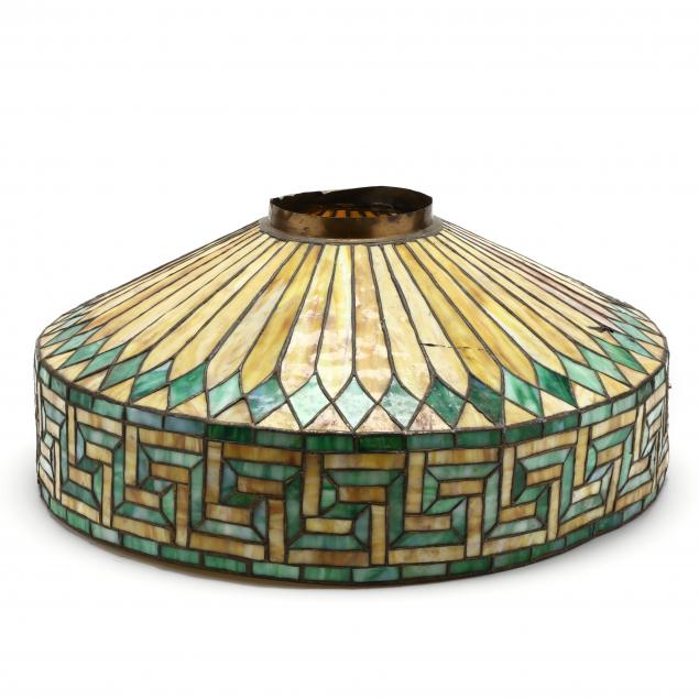 vintage-greek-key-patterned-stained-glass-shade